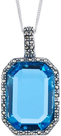 Lord & Taylor Sterling Silver & Marcasite Ocean Blue Crystal Pendant Necklace