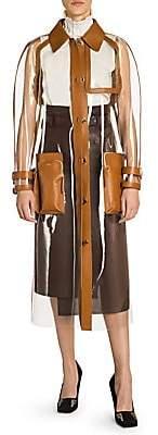 Fendi Women's Leather Trim Plastic Trench Coat