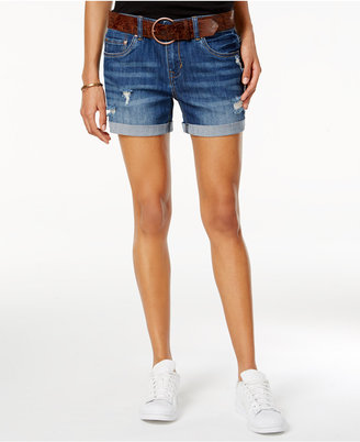 Dollhouse Juniors' Ripped Belted Denim Shorts $39 thestylecure.com