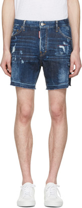Dsquared2 Blue Square Crotch Shorts $485 thestylecure.com