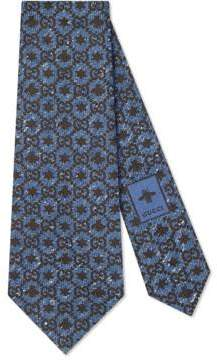 Gucci Bees and stars GG silk tie