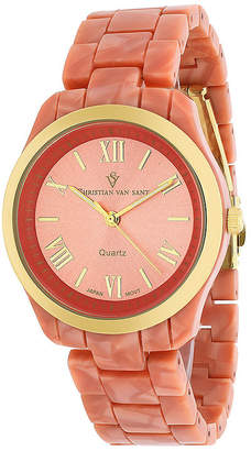 CHRISTIAN VAN SANT Christian Van Sant Granite Womens Pink Plastic Bracelet Watch