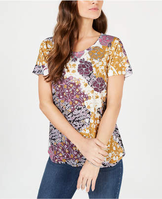 Style&Co. Style & Co Graphic Floral-Print Top, Created for Macy's
