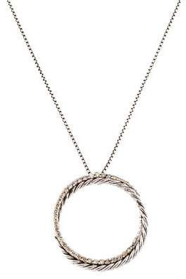 David Yurman Diamond Crossover Circle Pendant Necklace