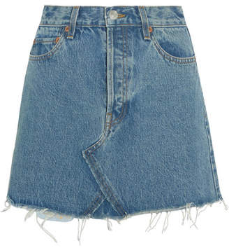 RE/DONE Originals Distressed Denim Mini Skirt - Mid denim