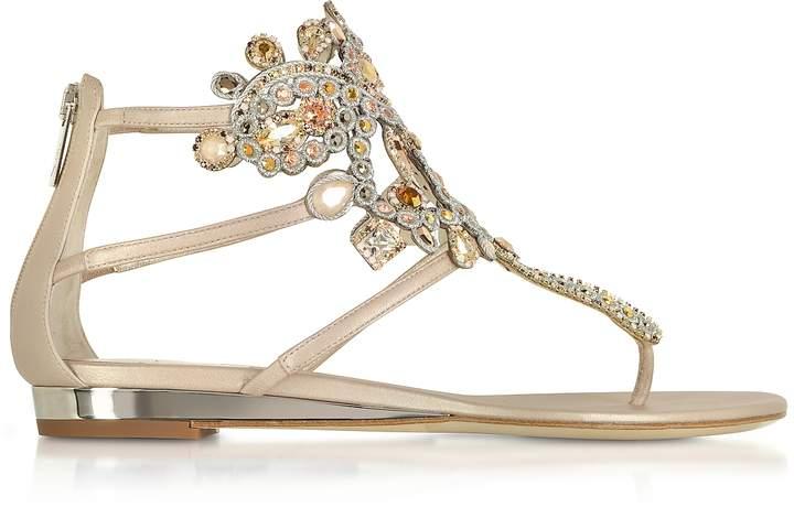 Rene Caovilla Light Gold/Ivory Cream Leather Flat Sandals w/Crystals