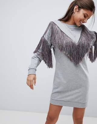 Asos Design DESIGN sweat dress with rainbow fringing