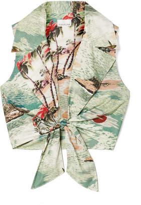 Miguelina Jill Tie-front Printed Cotton-poplin Top