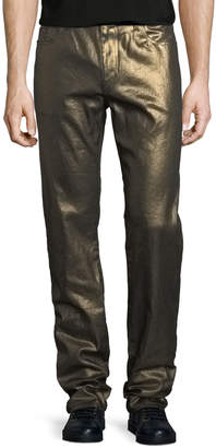 Saint Laurent Metallic 5-Pocket Skinny Jeans