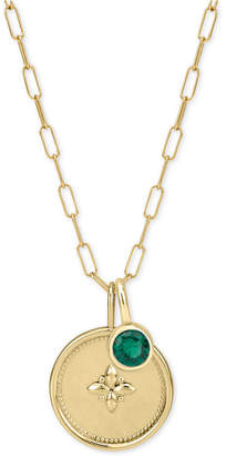 """Sarah Chloe Crystal Charm Long Pendant Necklace in 14k Gold-Plated Sterling Silver, 36"""" + 2"""" extender"""