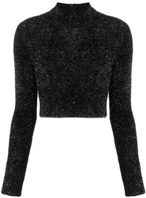 Versus faux fur cropped sweater