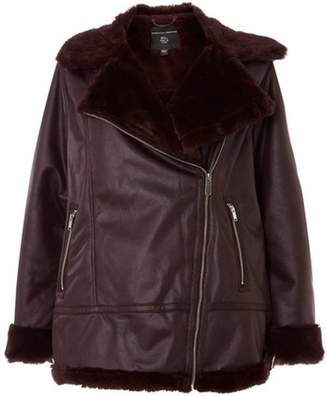 Dorothy Perkins Womens **DP Curve Burgundy Sheerling Biker Jacket