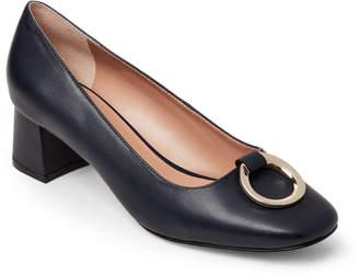 Tahari Preppy Navy Mavis Leather Block Heel Pumps