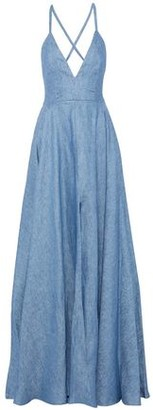 Milly Monroe Lace-Up Linen-Blend Chambray Gown