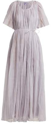 Thierry Colson Sabina Pleated Cotton And Silk Blend Dress - Womens - Blue
