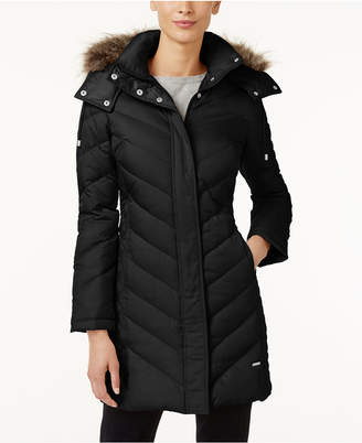 Kenneth Cole Hooded Faux-Fur-Trim Down Chevron Puffer Coat