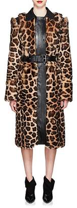 Givenchy Women's Leopard-Print Shearling Long Coat