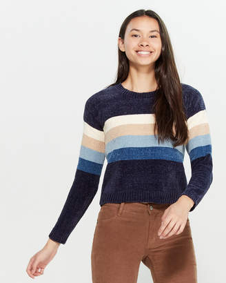 Poof Apparel Chenille Knit Long Sleeve Striped Sweater