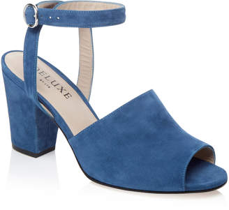 Deluxe By Lts Deluxe Block Heel Ankle Strap Suede Sandal
