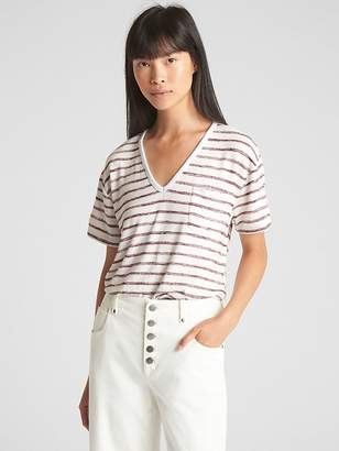 Gap Softspun Stripe V-Neck Pocket T-Shirt