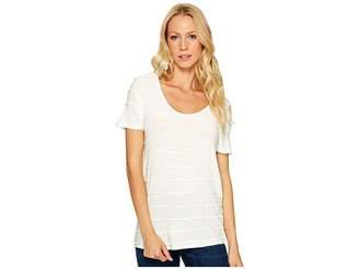 Three Dots Pintuck Jersey Short Sleeve Tee Women's T Shirt