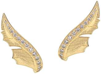 Stephen Webster Yellow Gold and Pavé Diamond Magnipheasant Stud Earrings
