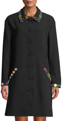Moschino Mirror-Trimmed Button-Front Coat