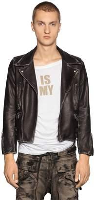 Faith Connexion Cropped Fit Vintage Leather Biker Jacket