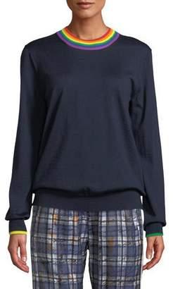 Burberry Long-Sleeve Rainbow-Neck Merino Wool Sweater