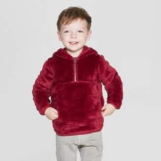 Cat & Jack Toddler Boys' Teddy Bear Fleece Hoodie Red