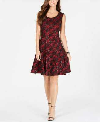 Nine West Sequined Lace Fit & Flare Dress