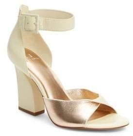 Halston H Jackie Block Heel Ankle-Strap Sandals