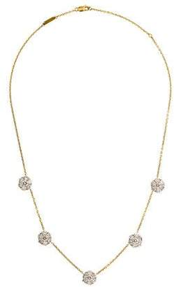 Van Cleef & Arpels 18K Diamond Fleurette 5 Flowers Necklace