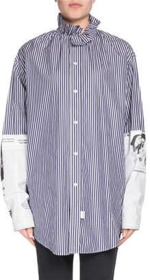 Balenciaga Button-Down Newspaper-Sleeve Cotton Poplin Shirt