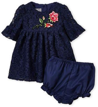 Pippa & Julie Infant Girls) Two-Piece Rose Applique Lace Dress & Bloomers Set