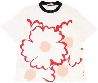 Marni Junior Flower Print Cotton Jersey T-Shirt