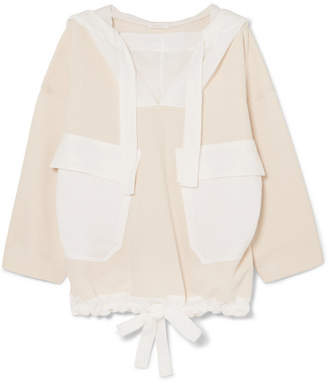 See by Chloe Oversized Cotton-blend Voile And Jersey Hooded Sweatshirt - Off-white
