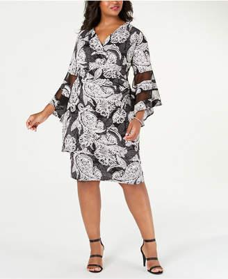 R & M Richards Plus Size Illusion-Detail Faux-Wrap Dress