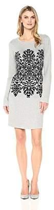 Sandra Darren Women's 1 Pc 3/4 Sleeve Centered Print Sweater Knit Dress