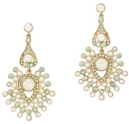 LOFT Green and White Stone Chandelier Earrings