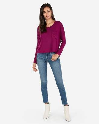 Express One Eleven Long Sleeve Abbreviated Boxy Tee