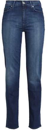 Faded Mid-Rise Slim-Leg Jeans