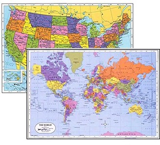 Painless Learning World Placemat + USA Placemat, Laminated Educational Placemats (2)