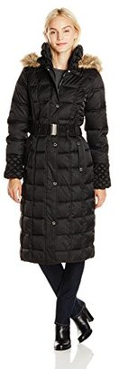 Betsey Johnson Women's Maxi Puffer Coat with Hood and Belt $278 thestylecure.com