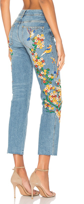 Free People Embroidered Girlfriend Jean $128 thestylecure.com