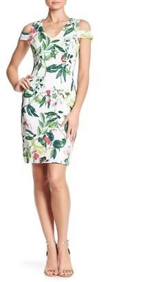 Donna Ricco Floral Print Cold Shoulder Dress