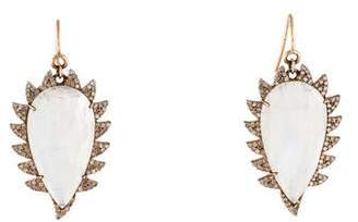 Meghna Jewels Moonstone & Diamond Claw Drop Earrings