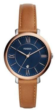 Fossil Jacqueline Analog Leather Strap Watch