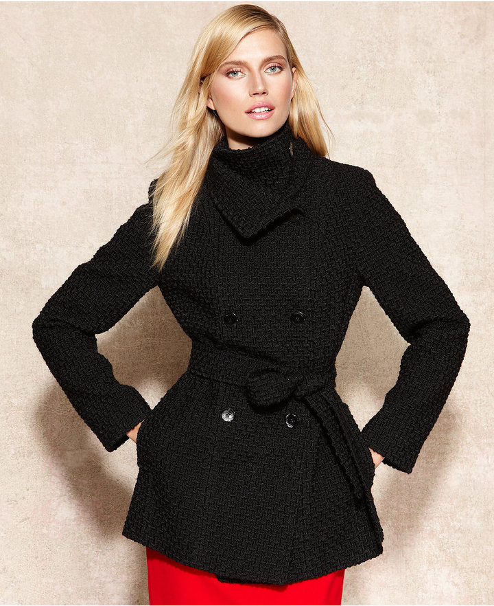 Calvin Klein Double-Breasted Belted Bouclé Pea Coat
