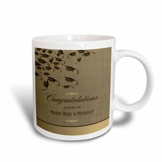 3dRose Masters Degree in Psychology Graduation Congratulations, Caps on Gold , Ceramic Mug, 15-ounce
